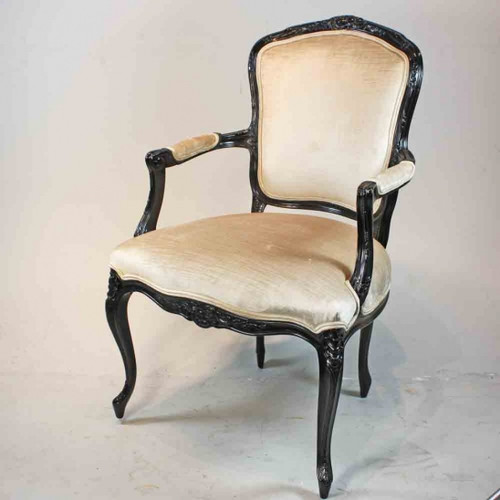 A Versailles Louis XV French Rococo Period - 38 Inch Handcrafted Reproduction Dining | Accent Arm Chair | Fauteuil - Velvet Upholstery - Painted and Gilt Luxurie Furniture Finish