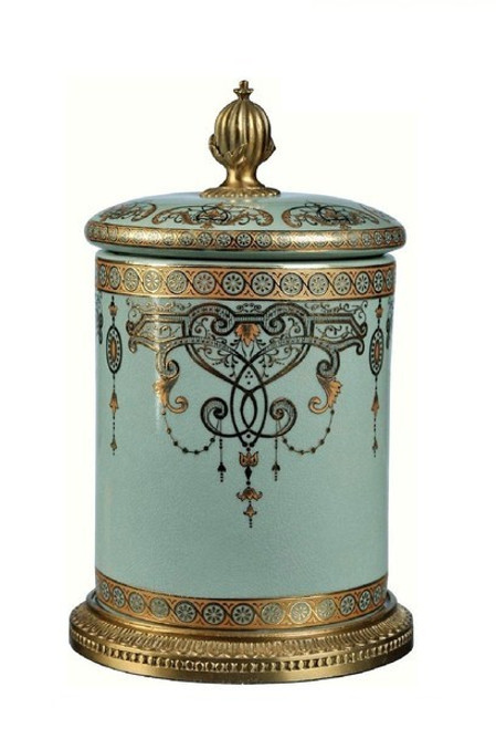 Luxe Life Celadon Flourish Finely Finished Porcelain and Gilt Bronze Ormolu - Round 10 Inch Decorative Covered Box