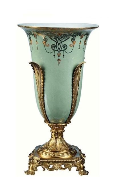Luxe Life Celadon Flourish Finely Finished Porcelain and Gilt Bronze Ormolu - 16 Inch Table Top or Mantle Vase