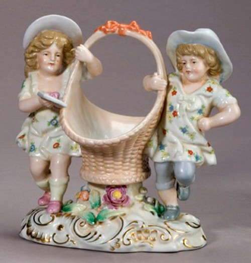 Meissen Style Table Top - 8 Inch Porcelain Table Top Basket