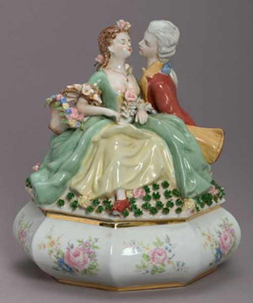 Meissen Style Table Top - 13 Inch Porcelain Covered Box