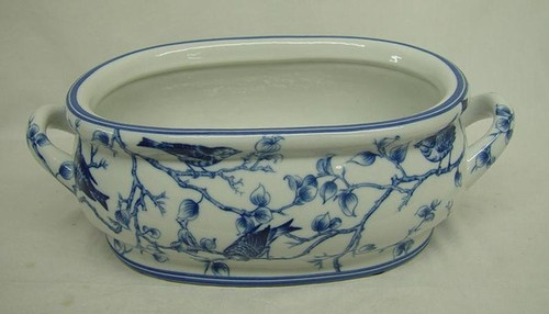 Blue and White Nature Scene - Luxury Handmade and Painted Reproduction Chinese Porcelain - 16 Inch Footbath, Centerpiece, Planter Style 591