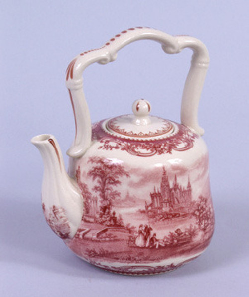 Red and White Pattern - Luxury Reproduction Transferware Porcelain - 6 Inch Teapot