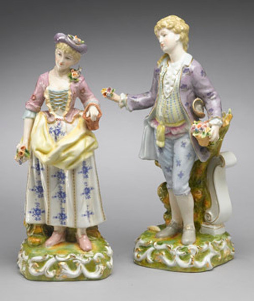 Meissen Style Table Top - 15 Inch Porcelain Pair Man and Woman
