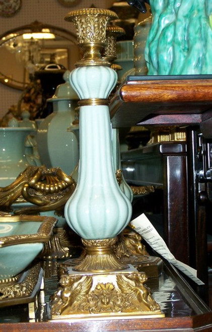 Lyvrich - Luxury Hand Painted Reproduction Porcelain and Gilt Bronze Ormolu - 14 Inch Statement Candlestick Pair - Solid Celadon