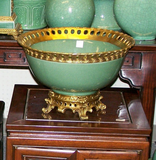 Lyvrich - Luxury Hand Painted Reproduction Porcelain and Gilt Bronze Ormolu - 14 Inch Statement Centerpiece, Bowl - Crackle Celadon