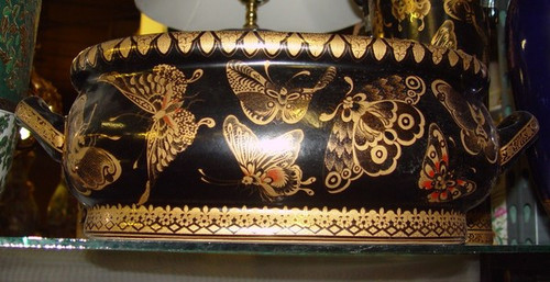 Black and Gold Butterfly - Luxury Handmade and Painted Reproduction Chinese Porcelain - 12 Inch Footbath, Centerpiece, Planter Style 591