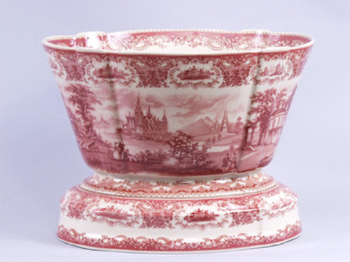 Red and White Pattern - Luxury Reproduction Transferware Porcelain - 16 Inch Planter