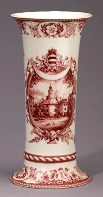 Red and White Pattern - Luxury Reproduction Transferware Porcelain - 12 Inch Vase