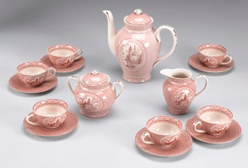Red and White Pattern - Luxury Reproduction Transferware Porcelain - 15 Piece Tea Set 1314 AAA