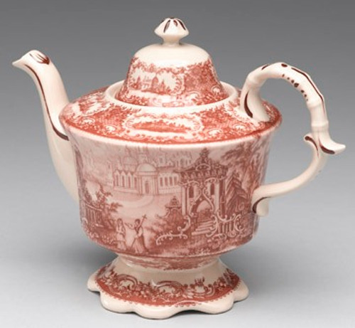 Red and White Pattern - Luxury Reproduction Transferware Porcelain - 10.5 Inch Teapot 1313 AAA