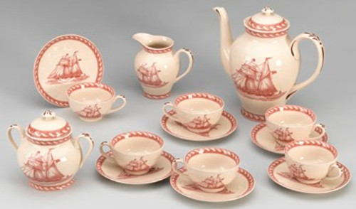 Red and White Nautical Pattern - Luxury Reproduction Transferware Porcelain - 15 Piece Tea Set