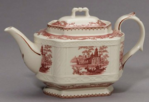 Red and White Pattern - Luxury Reproduction Transferware Porcelain - 11 Inch Teapot