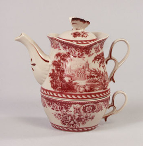 Red and White Pattern - Luxury Reproduction Transferware Porcelain - Tea for One Set 1308 AAA