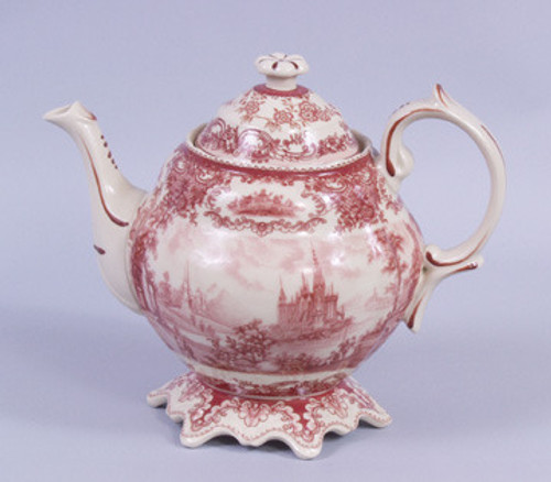 Red and White Pattern - Luxury Reproduction Transferware Porcelain - 8 Inch Teapot 1307 AAA