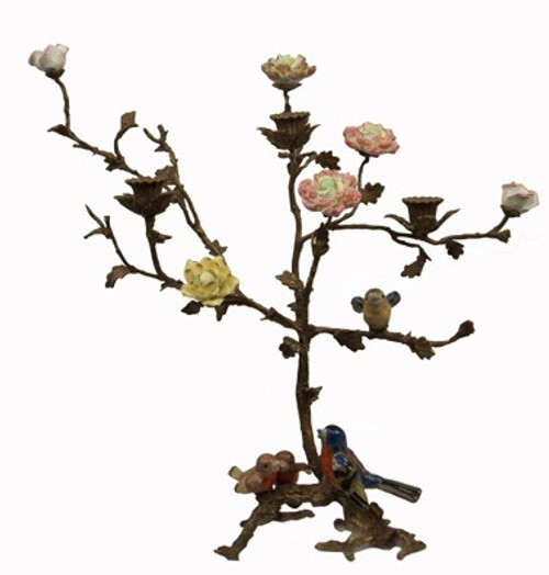 Birds of Spring - Luxury Hand Painted Porcelain and Gilt Bronze Ormolu Tree - 17 Inch Taper Candle Holder