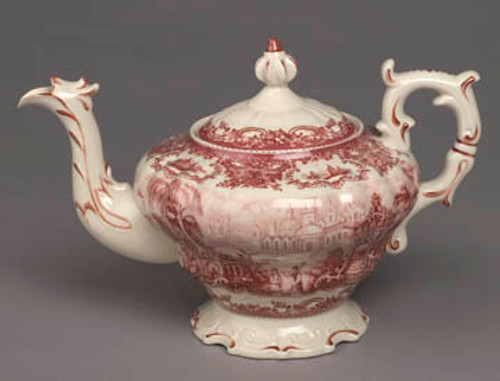 Red and White Pattern - Luxury Reproduction Transferware Porcelain - 13 Inch Teapot