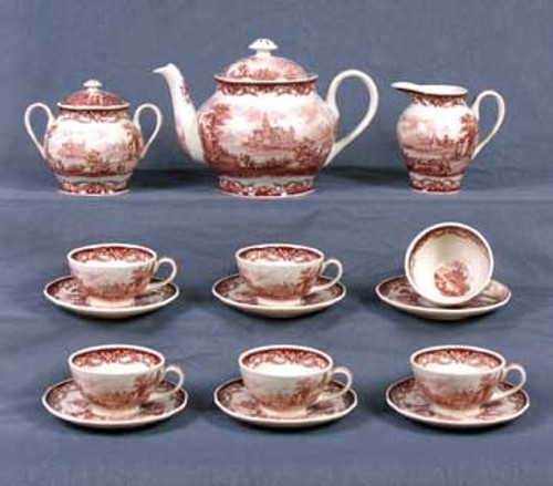 Red and White Pattern - Luxury Reproduction Transferware Porcelain - 15 Piece Tea Set