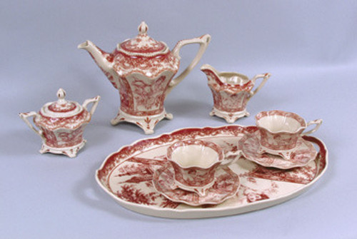Red and White Pattern - Luxury Reproduction Transferware Porcelain - 8 Piece Tea Set