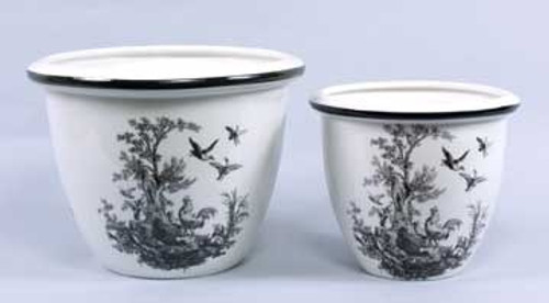Black and White Pattern - Luxury Reproduction Transferware Porcelain - 11 Inch Planters - Set of Two