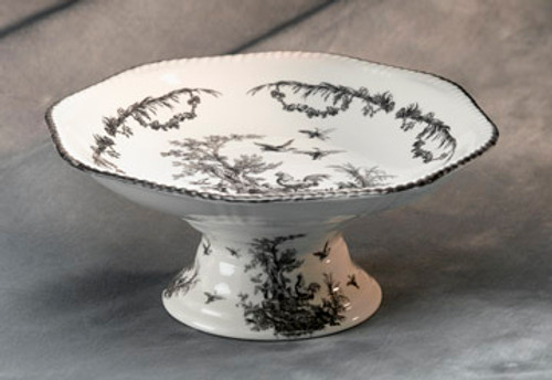 Black and White Pattern - Luxury Reproduction Transferware Porcelain - 11.5 Inch Fruit Bowl
