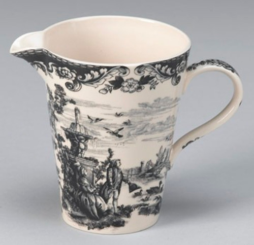 Black and White Pattern - Luxury Reproduction Transferware Porcelain - 7 Inch Watering Jug