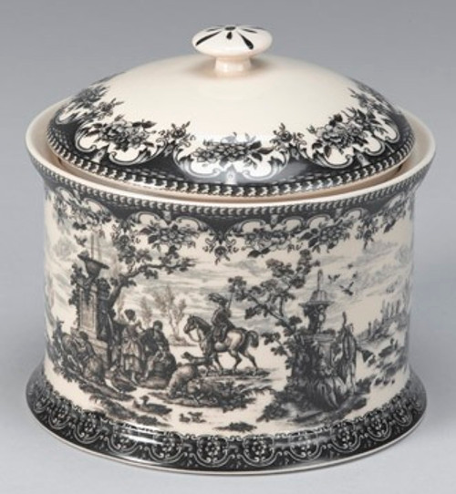 Black and White Pattern - Luxury Reproduction Transferware Porcelain - 6.5 Inch Covered Container