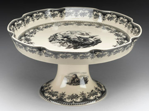 Black and White Pattern - Luxury Reproduction Transferware Porcelain - 13.5 Inch Scalloped Edge Pedestal Bowl | Compotier