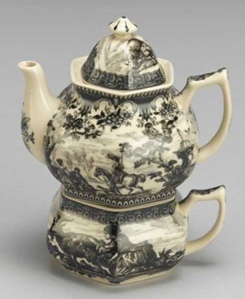 Black and White Pattern - Luxury Reproduction Transferware Porcelain - Tea For One