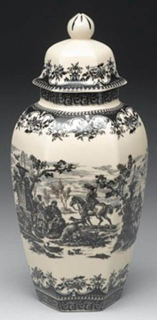Black and White Pattern - Luxury Reproduction Transferware Porcelain - 13.5 Inch Jar