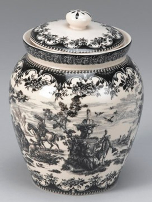 Black and White Pattern - Luxury Reproduction Transferware Porcelain - 9 Inch Canister, Jar