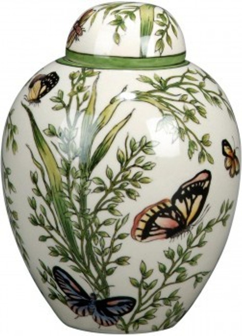 Luxe Life Beaucoup Butterflies Pattern - Luxury Hand Painted Porcelain - 7 Inch Covered Jar
