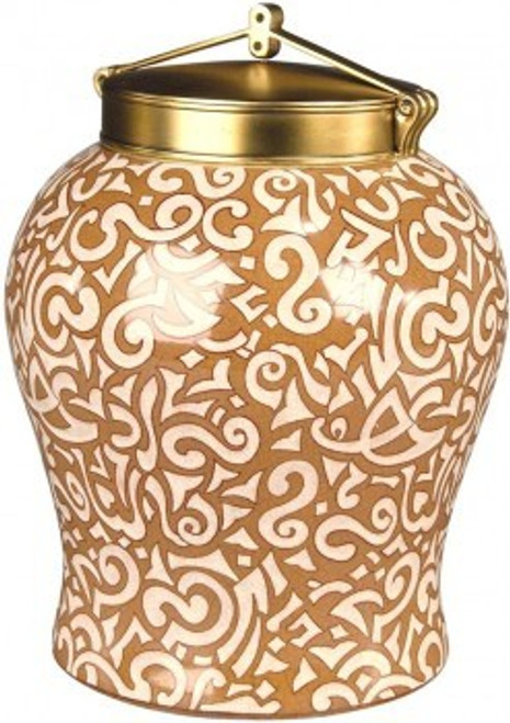 Luxe Life Orange and White Abstract Pattern - Luxury Hand Painted Porcelain and Gilt Bronze Ormolu - 14 Inch Covered Ginger Jar