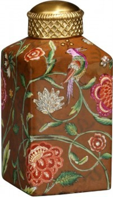 Luxe Life Feathered Friend Pattern - Luxury Hand Painted Porcelain and Gilt Bronze Ormolu - 7 Inch Square Jar