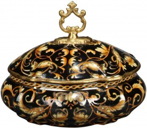 Luxe Life Black with Gold Scroll Pattern - Luxury Hand Painted Porcelain and Gilt Bronze Ormolu - 8 Inch Round Decorative Box