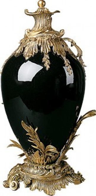 Luxe Life Solid Ebony Black - Luxury Hand Painted Porcelain and Gilt Bronze Ormolu - 28 Inch Oversized Covered Urn, Jar