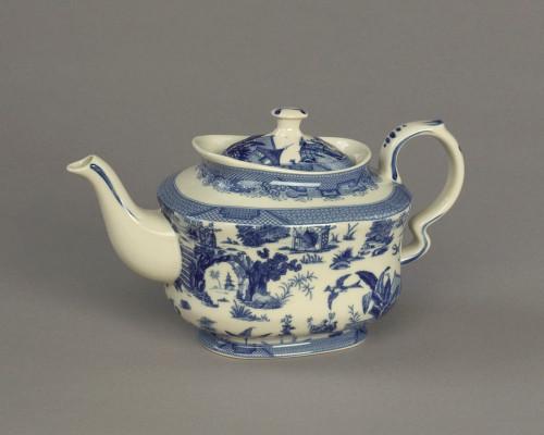 Blue and White Porcelain Transferware Decorative Teapot - 5t x 9L x 5d