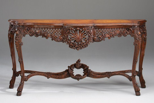 French Rococo Louis XV Style - 72.5 Inch Reproduction Console | Entry Table - Distressed Walnut Luxurie Furniture Finish