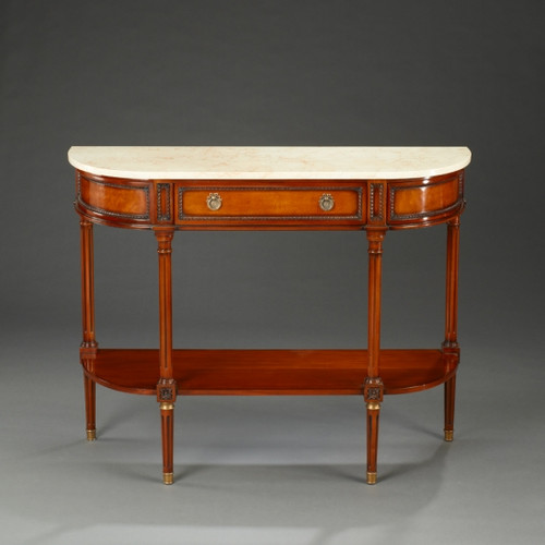 Louis XVI Style - 45 Inch Reproduction Console | Entry Table - Rich Wood Luxurie Furniture Finish with Gold