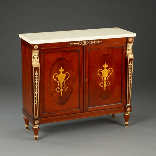 A Napoleon French Empire Style - 36 Inch Reproduction Commode   Entry Cabinet - Wood Luxurie Furniture Finish with Gold