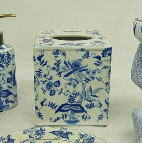 Blue and White Delicate Flower Vine - Luxury Hand Painted Chinese Porcelain - 6 Inch Boudoir, Boutique Tissue Box - Style M422