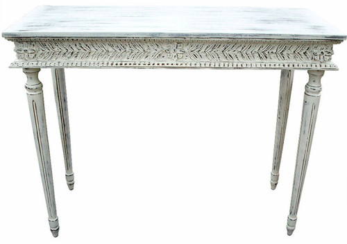 Custom Decorator - Rectangular Hardwood 46 Inch Console Table - Hand Carved