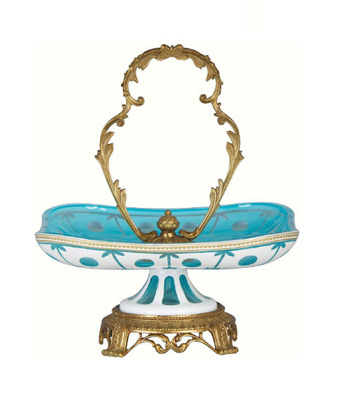 Luxe Life Finely Finished Cut Crystal Glass and Gilt Bronze Ormolu, 14 Inch Dish | Tray with Center Handle