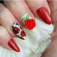 3d nail art rose charm blog by Tracey Bellew