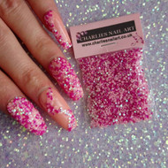 Pretty in pink! Nail glitter specks nail blog.