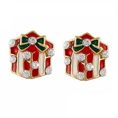 Red diamante Christmas present nail art charms
