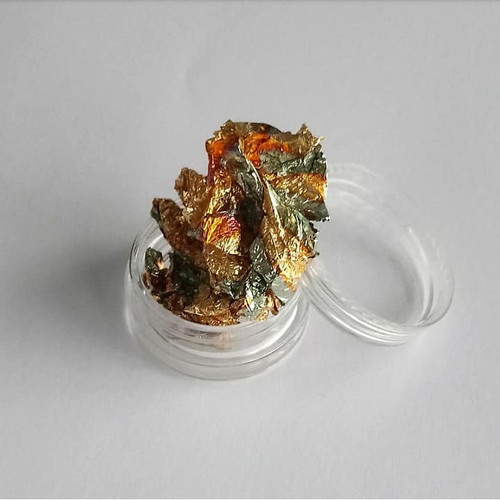 Pot of gold and blue nail foil flakes