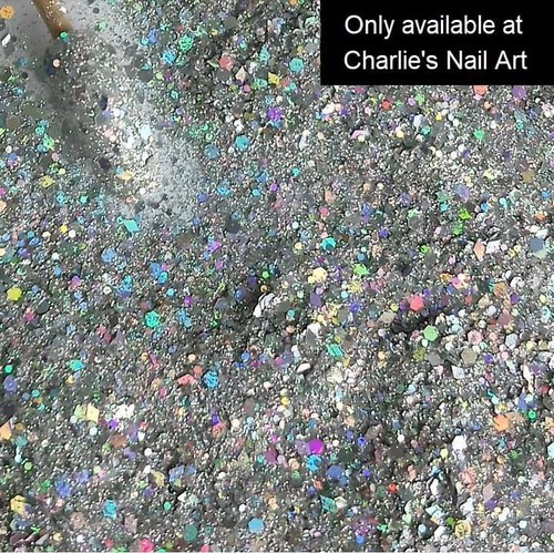 Bedazzle holographic silver nail glitter mix
