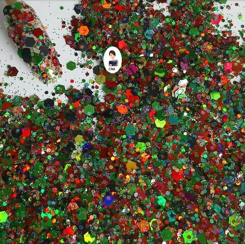 Witches cackle hexagon nail glitter mix