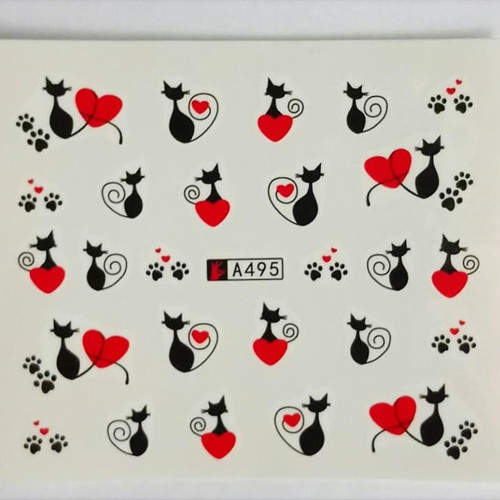 Black cat and hearts nail art water decals